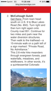 Trailhead instructions (>5miles round-trip)
